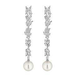 Jon Richard - Silver cubic zirconia linear pearl drop earrings