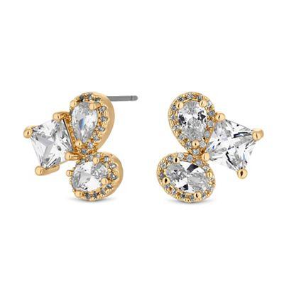 jon richard gold crystal multi shape cluster stud earrings