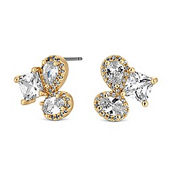 Jon Richard - Gold crystal multi shape cluster stud earrings