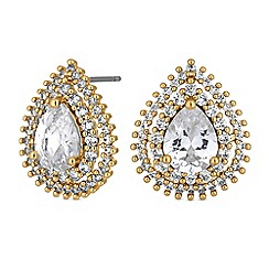 Jon Richard - Gold crystal peardrop halo stud earrings