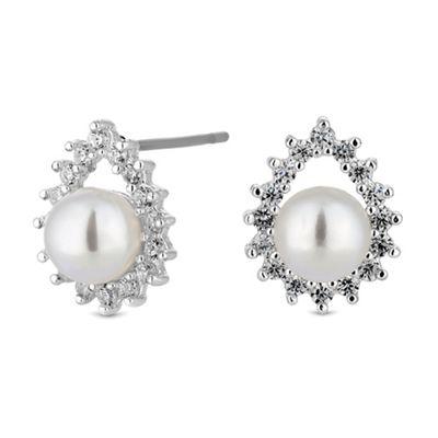 jon richard silver crystal peardrop pearl stud earrings