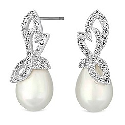 Jon Richard - Silver crystal leaf pearl drop earrings
