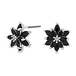 a6689b9f4 Jon Richard - Black cubic zirconia flower stud earrings
