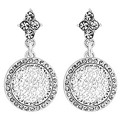 Jon Richard - Silver crystal filigree disc drop earrings
