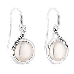 Jon Richard - Silver pearl and crystal swirl drop earrings