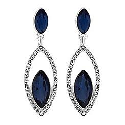 Jon Richard - Silver blue crystal statement drop earrings
