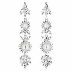 Alan Hannah Devoted - Designer silver crystal and pearl flower drop earrings