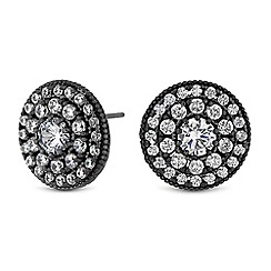 Jon Richard - Grey crystal pave disc stud earrings