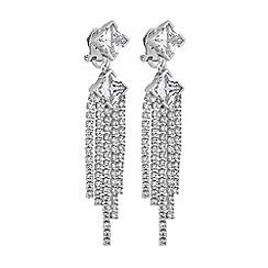 Jon Richard - Silver cubic zirconia diamante statement clip on earrings
