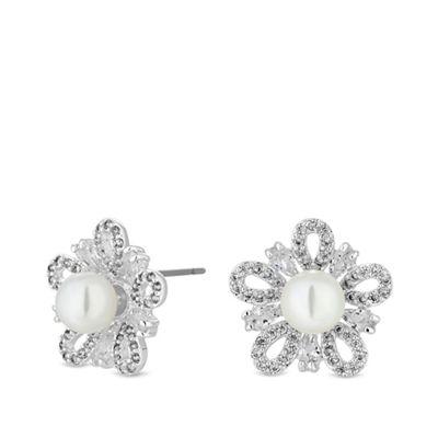 b64fa9414 Jon Richard Silver plated clear cubic zirconia flower stud earrings ...