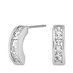 Jon Richard - Silver plated clear cubic zirconia channel stone half hoop earrings