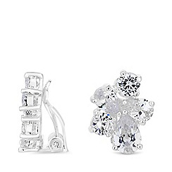 Jon Richard - Silver plated clear cubic zirconia multi pear stone clip on earrings