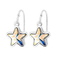 Jon Richard - Silver Plated Clear Star Drop Earring Embellished With Swarovski® Crystals