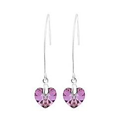Jon Richard - Silver Plated Pink Heart Drop Earring Embellished With Swarovski® Crystals