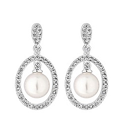 Jon Richard - Silver plated clear cubic zirconia pearl double oval drop earrings
