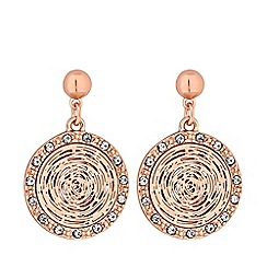 Jon Richard - Rose gold plated clear crystal pave drop earrings