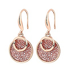 Jon Richard - Rose Gold Plated Clear Polished Drop Earring Embellished With Swarovski® Crystals