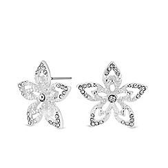Jon Richard - Silver plated clear crystal polished stud earrings