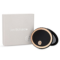 Jon Richard - Rose gold and black oval compact mirror embellished with swarovski crystals
