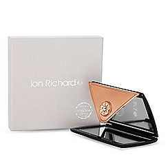 Jon Richard - Rose gold and black envelope compact mirror embellished with swarovski crystals