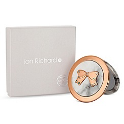 Jon Richard - Cream marble bow compact mirror embellished with swarovski crystals