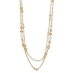 Jon Richard - Pink glass bead and pearl multi row necklace