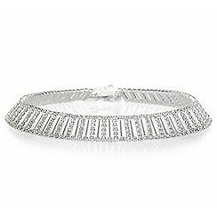 Jon Richard - Silver crystal link choker necklace