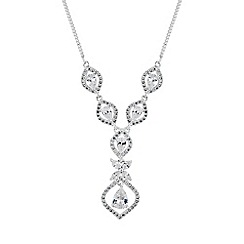 Alan Hannah Devoted - Silver floral y drop necklace
