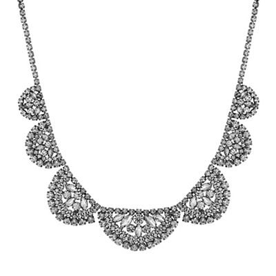 jon richard crystal cluster half circle necklace