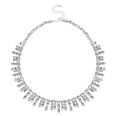 jon richard silver crystal multi shape collar necklace