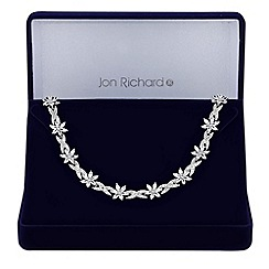 Jon Richard - Silver cubic zirconia flower and leaf necklace