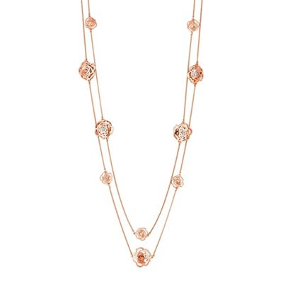 jon richard crystal filigree rose multi row necklace