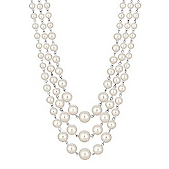Jon Richard - Cream pearl multi row necklace