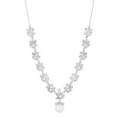 Alan Hannah Devoted - Designer crystal cluster pearl drop necklace