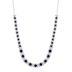 Alan Hannah Devoted - Designer blue cubic zirconia floral link statement necklace