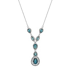 Jon Richard - Silver blue crystal halo peardrop lariat necklace