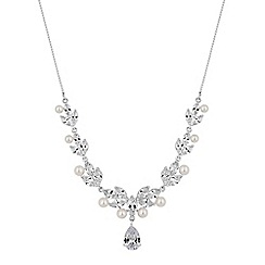 Alan Hannah Devoted - Designer silver pearl and cubic zirconia pear drop necklace