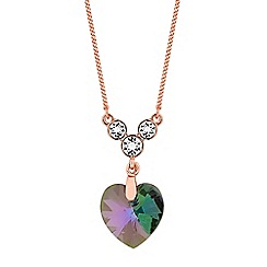 Jon Richard - Rose gold heart pendant necklace embellished with Swarovski crystals
