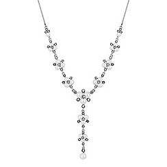 Alan Hannah Devoted - Designer silver pearl and crystal cluster lariat necklace