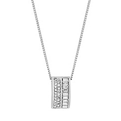 Jon Richard - Silver pave curve pendant necklace embellished with Swarovski crystals