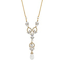 Alan Hannah Devoted - Designer gold cubic zirconia and pearl pendant necklace