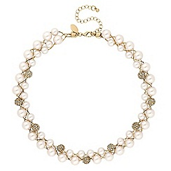 Jon Richard - Gold crystal pave orb and pearl twist necklace