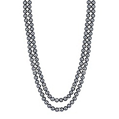 Jon Richard - Silver crystal link and grey pearl multi row necklace