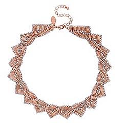 Jon Richard - Rose gold crystal twist statement necklace