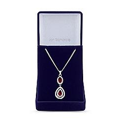 Jon Richard - Silver red cubic zirconia peardrop pendant necklace