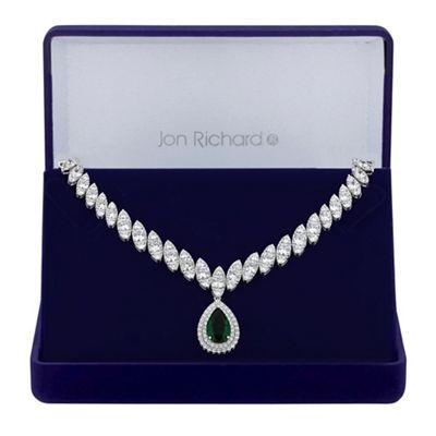 jon richard silver green cubic zirconia peardrop statement necklace