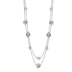 Jon Richard - Silver crystal open rose long necklace