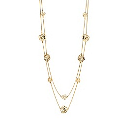Jon Richard - Gold crystal open rose long necklace