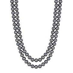 Jon Richard - Grey charcoal pearl multi row necklace