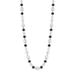 Jon Richard - Black bead and pearl long necklace